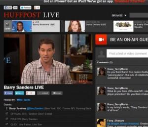 """Der Redakteur als Moderator """"on air"""": Das Publikum interagiert mit ihm per Text- und Videochat. (Quelle: huffingtonpost.com)"""