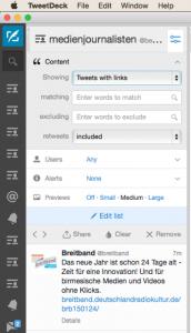 Mit Tweetdeck kann man verschiedene Listen, Suchbegriffe oder Interaktionen auf einen Blick verfolgen.