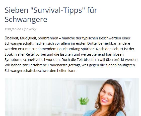 """Abbildung 1: Sieben """"Survival-Tipps"""" für Schwangere Quelle: http://www.netdoktor.de/schwangerschaft/sieben-survival-tipps-fuer-schwangere/"""