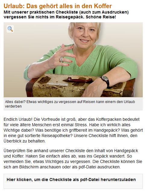 Abbildung 2: Checkliste Reiseapotheke Quelle: http://www.senioren-ratgeber.de/Reisen/Urlaub-Das-gehoert-alles-in-den-Koffer-110125.html