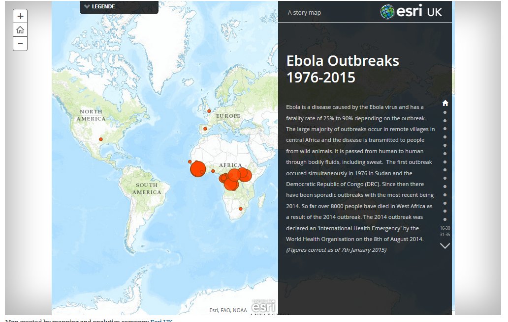 Abbildung 6: Interaktive Karte zur Ebola-Ausbreitung Quelle: http://www.theguardian.com/society/ng-interactive/2014/aug/13/ebola-outbreaks-interactive-map