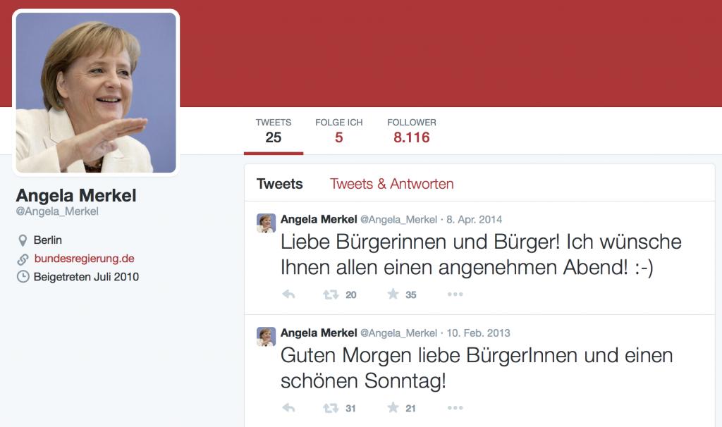 Sieht offiziell aus, ist es aber nicht: Eines der zahlreichen falschen Merkel-Profile auf Twitter.