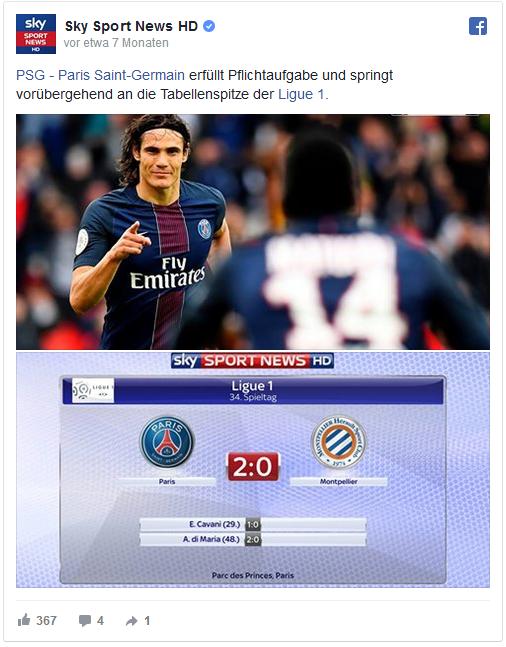 Sachlich, kurz und knapp: So sind die Facebook-Posts von Sky Sport News HD und Sportschau häufig formuliert.