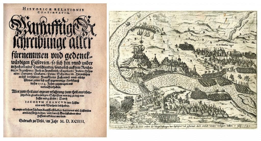 Titelblatt der 1594 in Ursel erschienenen Messzeitung Historicae Relationis Continuatio. Laut Ursellis-Archiv ist im Kupferstich die Belagerung und Einnahme der Festung Gran an der Donau, Christen gegen Türken, im Juli 1594 zu sehen.  Quelle: Ursellis