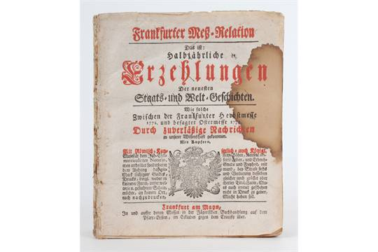 Frankfurter Meß-Relation aus den Jahren 1772/73 zur Herbst- und Ostermesse.  Quelle: The Saleroom