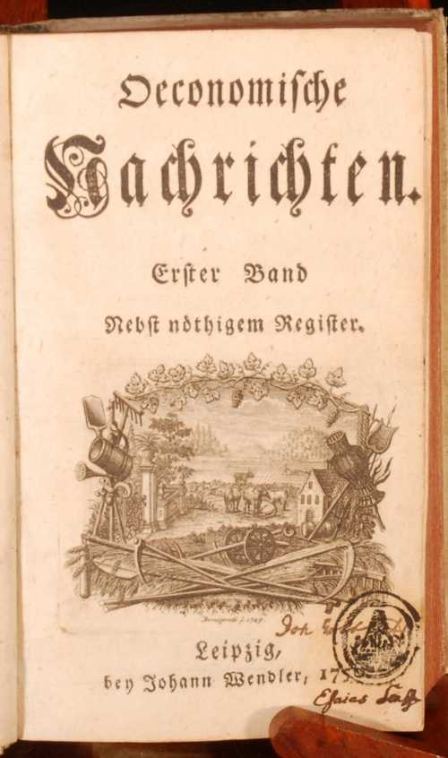 Titelblatt der Oeconomischen Nachrichten aus dem Jahr 1750  Quelle: RookeBooks
